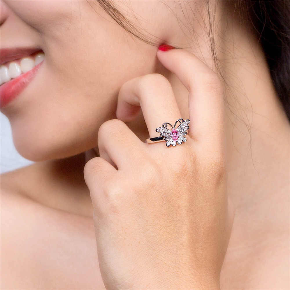 Lingmei חדש פרפר עיצוב המרקיזה רב סגול & ורוד לבן CZ כסף צבע טבעת גודל 6 7 8 9 יפה נשים תכשיטים