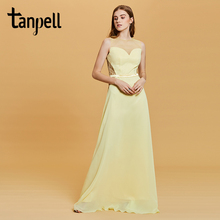 Tanpell a line long prom dress daffodil scoop neck floor length lace gown women sleeveless party evening formal dresses