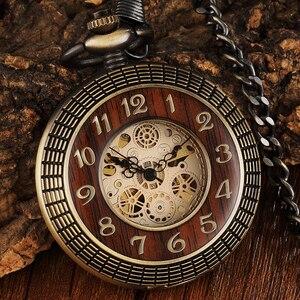 Image 1 - ساعة الجيب الميكانيكية ذات الأرقام المنحوتة ذات الدائرة الخشبية العتيقة للرجال ساعة يد ميكانيكية برونزية فريدة من نوعها بسلسلة