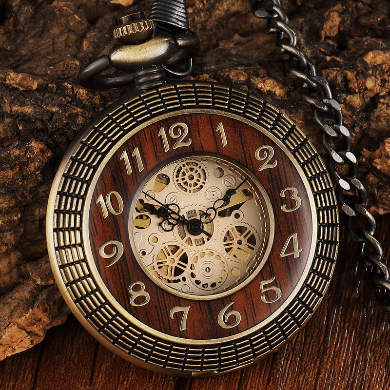 Vintage Wood Circle Carved Number Dial Mechanical Pocket Watch Men Unique Hollow Steampunk Bronze Mechanical Clock Watches Chain все цены