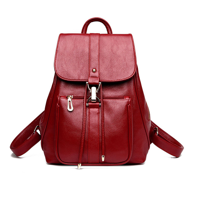 mochila feminina women red leather backpack travel bag back to school bag  satchel elegant backpacks for College girl schoolbag ea507452b8784