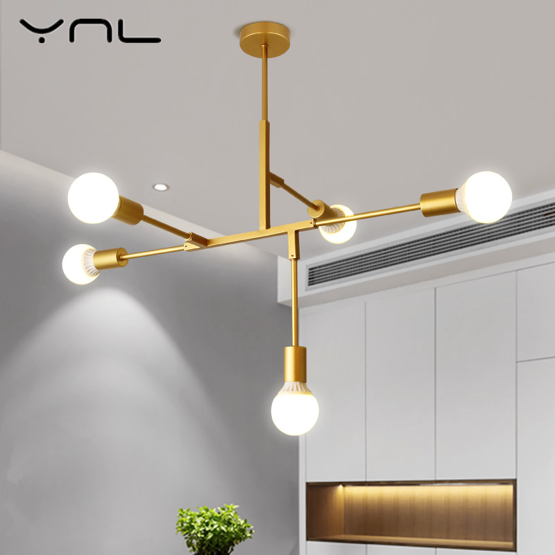 Loft Modern Nordic LED Gold Pendant Light Lights E27 light bulb living room bedroom dinning room decor LED Lamp Edison bulb 2017 modern luxury crystal pendant light gold for the restaurant bedroom lights led bulb gold