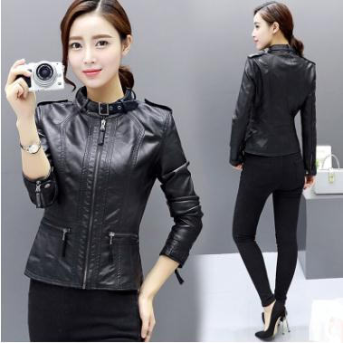 Womens Spring Autumn Short Section Slim Motorcycle Jackets Large Size Female Pu Leather Coats Plus Size