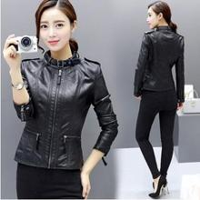 Womens Spring Autumn Short Section Slim Motorcycle Jackets Large Size Female Pu Leather Coats Plus Clothes K1039