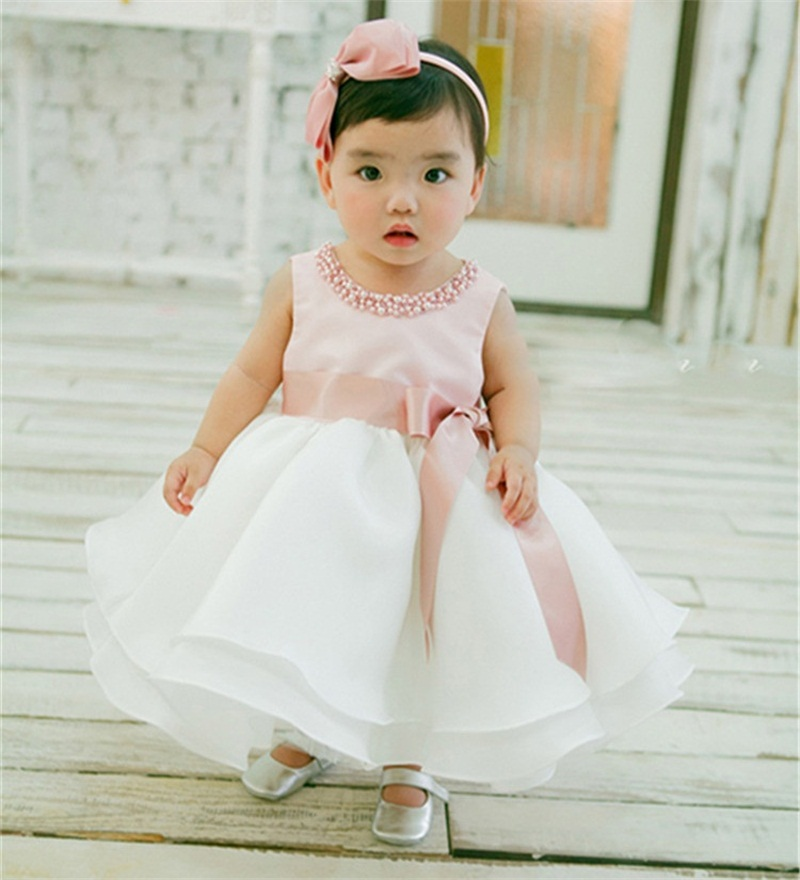Fashion Summer Style Baby Girl Wedding Dress Toddler Kids Girl Dresses Sleeveless Elegant Christening Gown Dress Baby Clothing