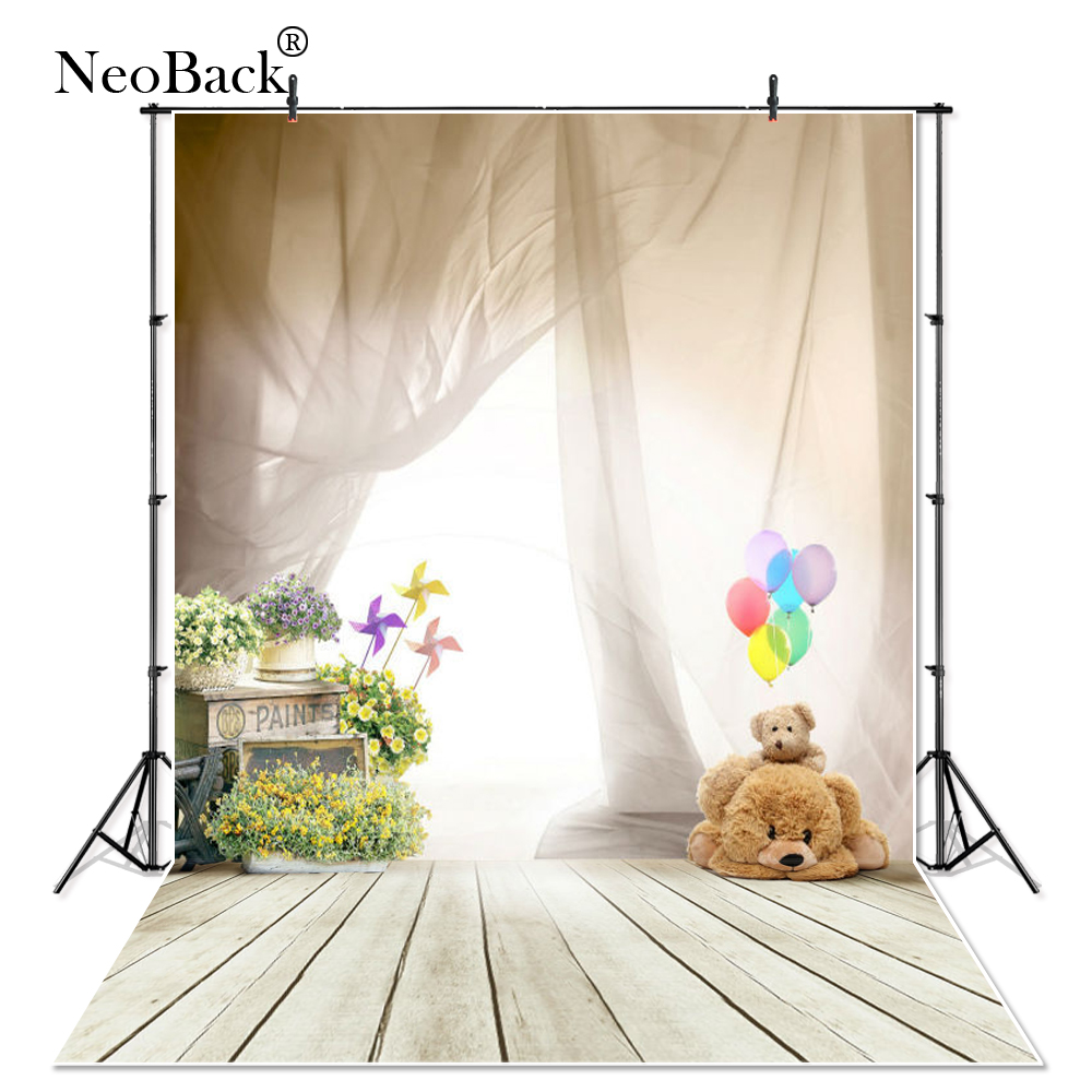 NeoBack Curtain photography backdrop photo props balloon bear children wooden floor vinyl photo studio background for baby P2398 new arrival top selling 555 metal gear motors 3v 6v 12v 24v dc gear 10 20 40 80 rpm motor high torque and low noise