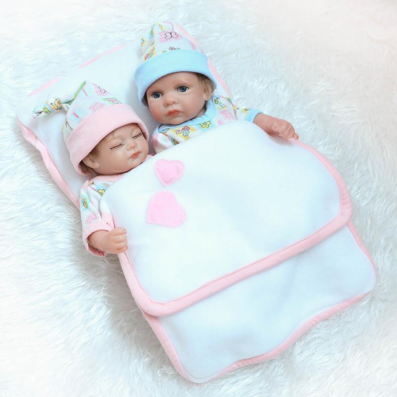 26 cm corps complet Silicone vinyle Reborn bébé poupée jumeaux à la main réaliste Mini nouveau-né bébés fille et garçon pour enfants Playmate