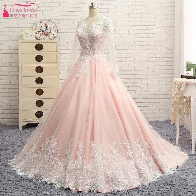 b524373eadef Blush Pink Lace Wedding Dress Long Sleeve Sheer Neck Elegant Bridal  Gelinlink Vestido De Noiva ZW142