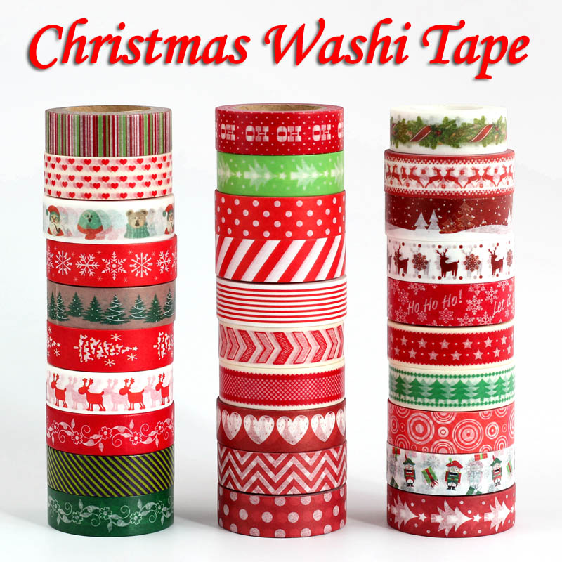 1PC Decorative Snow Deer Christmas Tree Washi Tape Set Rice Paper DIY Scrapbooking Adhesive Masking Tape 1.5cm*10m Stationery