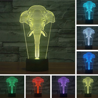 7 Color Changing Elephant 3d Led Lights Atmosphere Lamp Festival Lantern Christmas Decoration Supply Glow Accessory