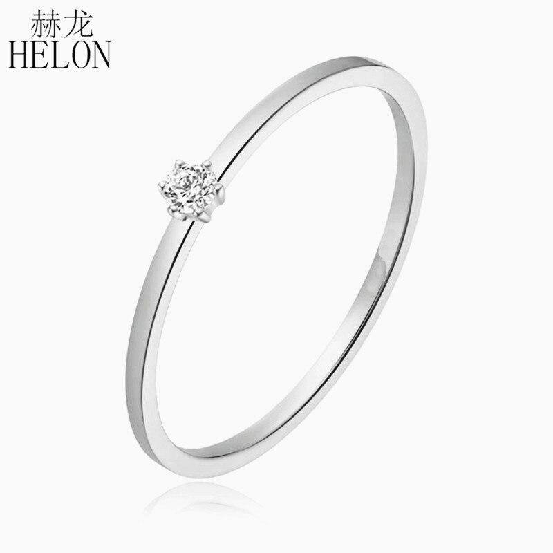 Solid 18k White Gold (AU750) 0.06ct SI/H Round 100% Diamond Engagement Ring Trendy Fine Jewely Elegant Unirque Gift Wedding Ring