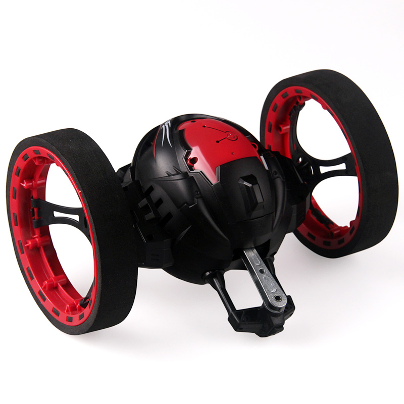 2.4G RC Bounce Car with Jumping LED Light Music Automatic balancing Upright walking Remote Control Robot Car Toys Gifts for kids
