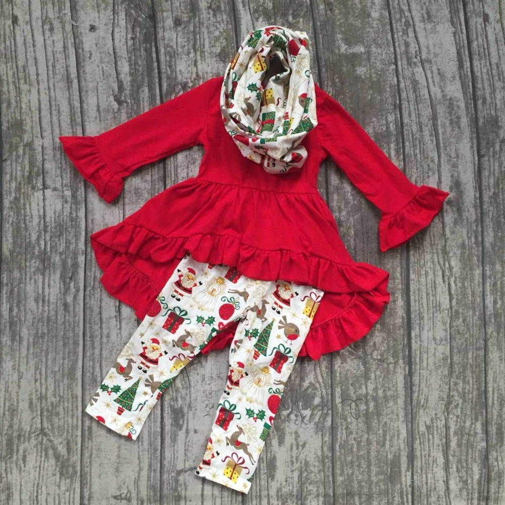 baby girls fall/winter 3 pieces sets scarf ruffle boutique children cotton clothes christmas gift print red dress top outfits football clothes tutus touch downs fall baby girls boutique skirt ruffle hot pink long sleeves bow heart with matching accessory