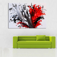Large Canvas Hand-painted Abstract Graffiti Oil Painting Handmade Red Inked Style Paintings Home Decor Wall Art Picture as Gifts