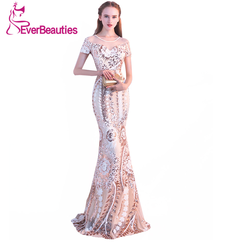 evening wedding guest dresses mermaid evening dress 2018 luxury sequin gowns 3947