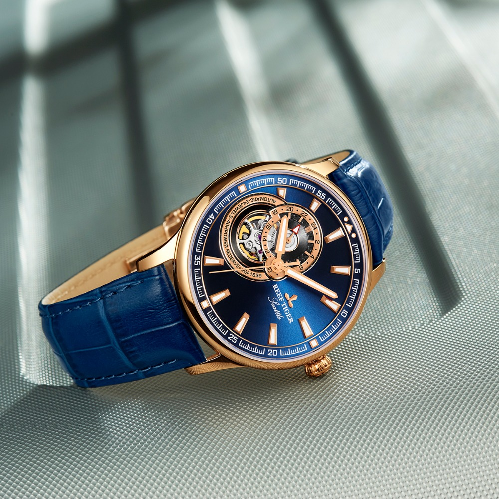 Reef Tiger / RT Dress Herenhorloge Rose Gold Tone Tourbillon Horloges - Herenhorloges - Foto 3