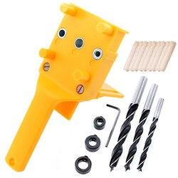 Carpintaria passador gabarito conjunto 30 pçs pinos de passador madeira com 6 8 10mm broca bits guia kit para marcenaria passador gabarito buraco viu ferramentas
