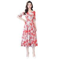 2019 Summer Fashion Women's Clothing V neck Chiffon Dress Flowers Printing Flare Short Sleeves Dresses Female