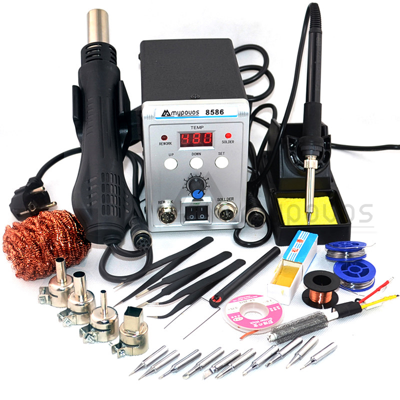 750W 8586 2 In 1 Digital ESD Hot Air Gun Soldering Station Welding Solder Iron For IC SMD Desoldering Rework Station 220v
