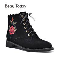 BeauToday Boots Women Embroidery Flower Ankle Length Top Brand Genuine Leather Quality Boot Lace Up Zipper