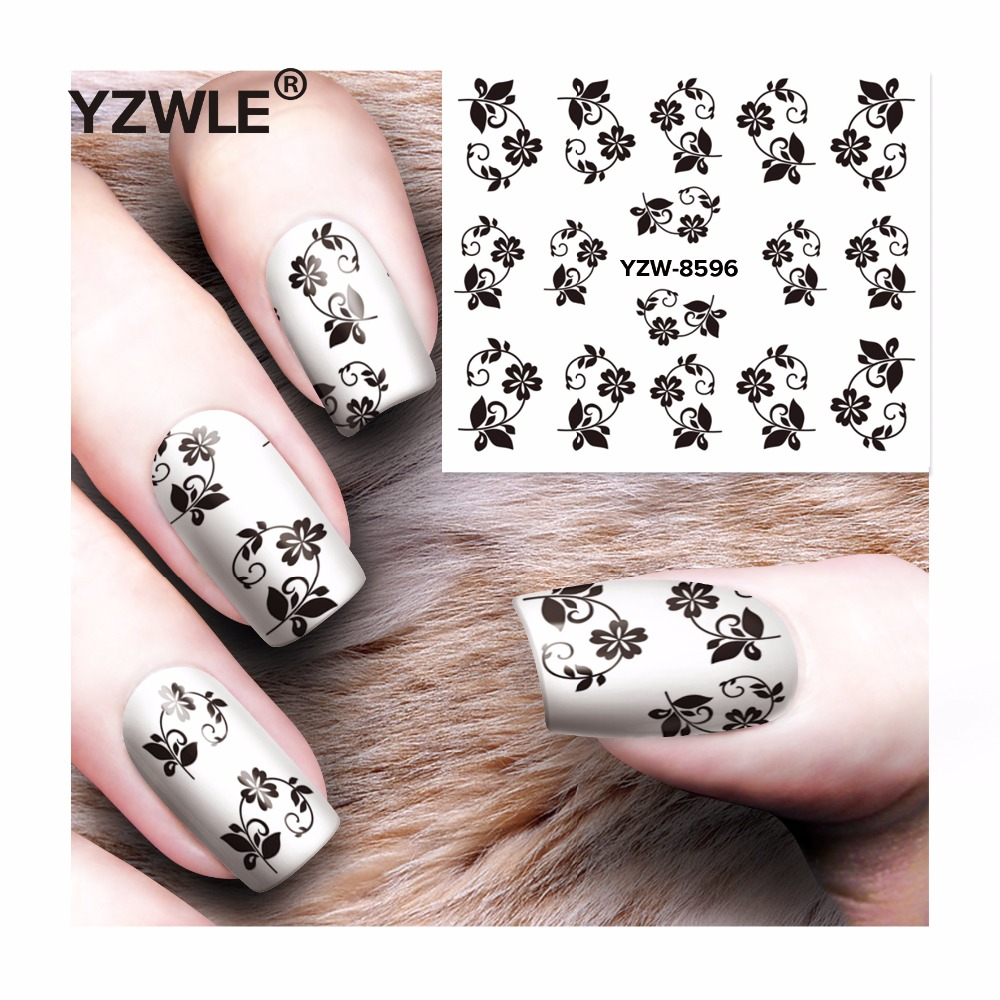 YZWLE 1 Sheet DIY Decals Nails Art Water Transfer Printing Stickers Accessories For Manicure Salon  YZW-8596 yzwle 1 sheet chic flower nail art water decals transfer stickers splendid water decals sticker yzw 1398