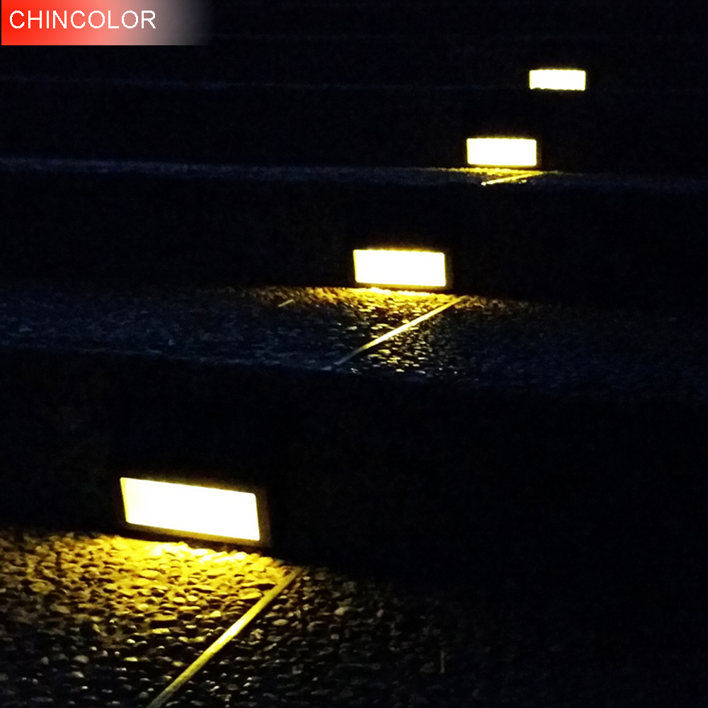 CHINCOLOR Solar Power LEDs Outdoor Waterproof Garden Pathway Stairs Lamp Light Energy Saving LED Solar Wall Lamp Warm White CA