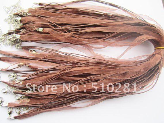 """500 шт. 18 дюймов коричневая органза шнур ожерелье с застёжкой """"Лобстер"""" и удлиняющаяся цепочка для DIY кулон ювелирные изделия"""