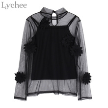Lychee Sexy Spring Autumn Women Blouse Floral Embroidery Mesh Shirt Cami 2 Pieces Set Spaghetti Strap Top