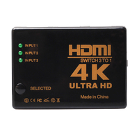 3 Port 4K HDMI Switch Switcher Selector With Remote Control Connect 3 Devices To HDTV