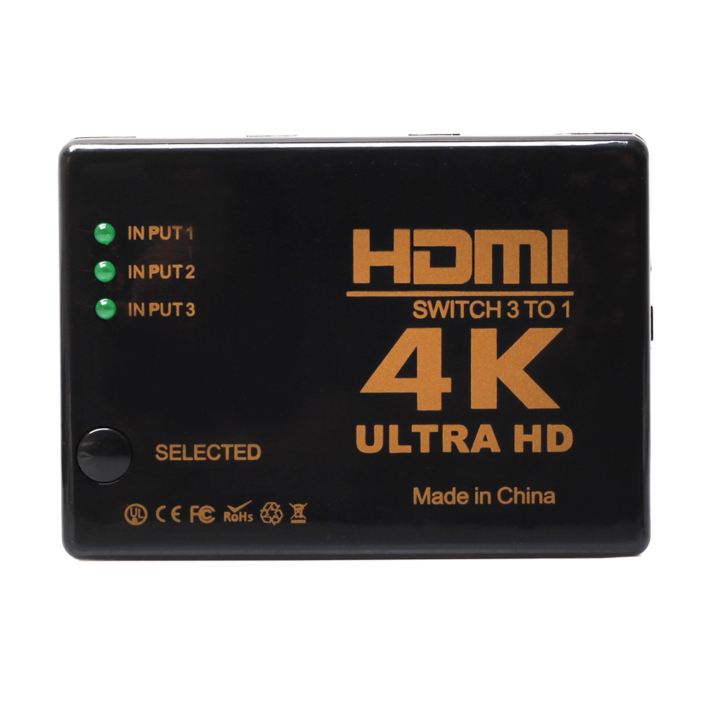 3-Port 4K HDMI Switch Switcher Selector With Remote Control Connect 3 Devices To HDTV 3x1 HDMI Switch