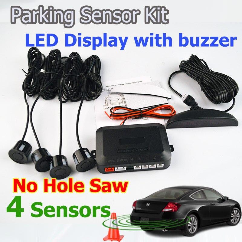 Viecar Auto LED Parkplatz Sensor Kit Keine Loch Sah Bohrer 4 Sensoren 22mm Hintergrundbeleuchtung-rückunterstützung Monitor-System 12 v Freies Verschiffen