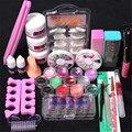 Pro 24 in 1 Acrylic Nail Art Tips Liquid Buffer Glitter Deco Tools Full Kit Set