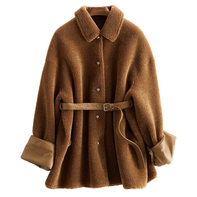 Nouvelle Mouton Fourrure Longueur D'hiver De Vêtements Chaud Épais Veste Moyen Coffee Brown Manteaux Manteau Z146 coréen Réel Laine Femmes rgw0xqf5Wr
