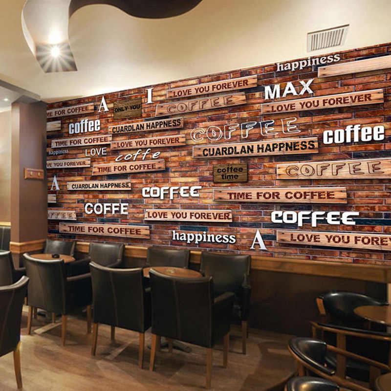 3D Wallpaper Vintage Coffee Wood Grain Mural Restaurant Cafe Modern Fashion  Interior Decor Wallpaper Papel De Parede 3D Paisagem