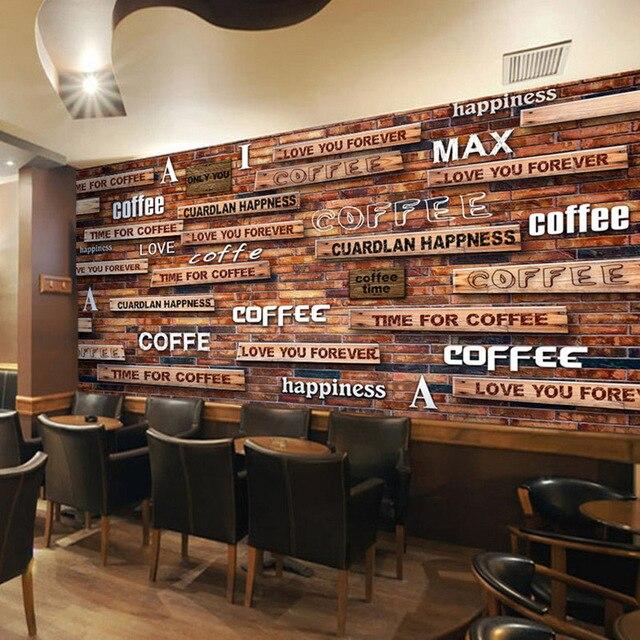 Papier peint 3D Vintage café bois Grain Mural Restaurant café ...