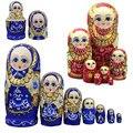 7 pçs/set Novo Brinquedo Tradicional De Madeira Bonecas Do Assentamento Russo Trança Menina Desejando Dolls para o Aniversário 88 FJ88 Matryoshka