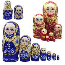 7pcs/set New Wooden Russian Nesting Dolls Braid Girl Toy Traditional Matryoshka Wishing Dolls for Birthday 88 FJ88