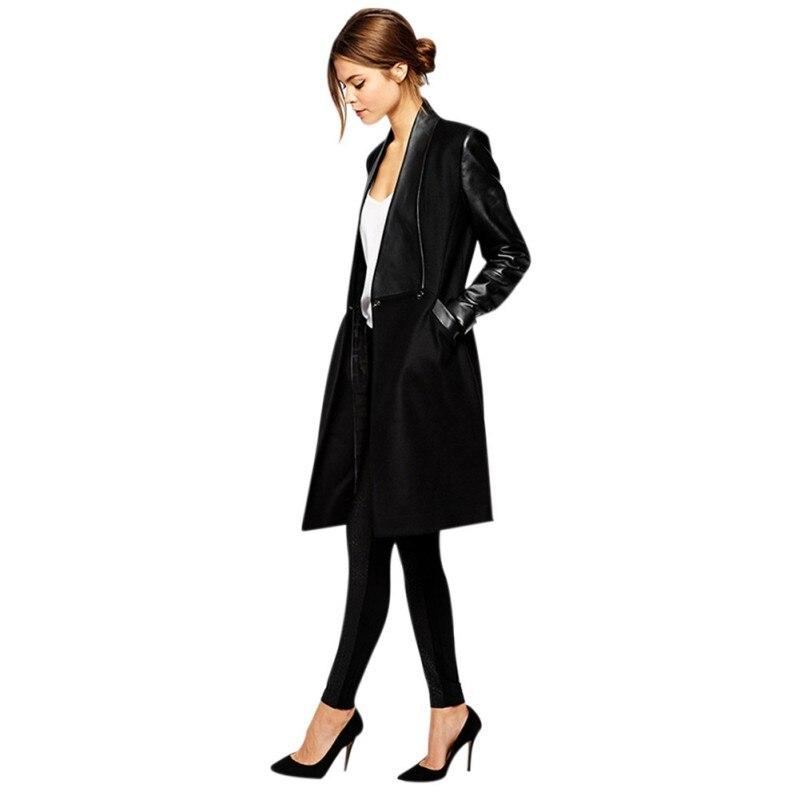 Long Coat Women Jacket 2019 Autumn Cardigan   Leather   Coat Lapel Splicing Long Sleeve Coat Winter Slim Woolen Jackets Female