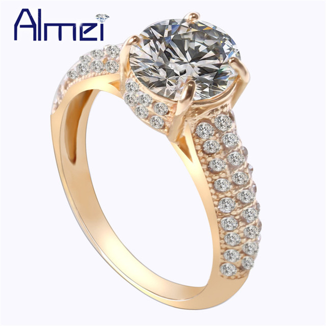 Almei Wedding Gold Color Rings For Women Female Big Zircon Stone Ring Silver Bijuteria Feminina Jewelry Dropshipping USA BME201