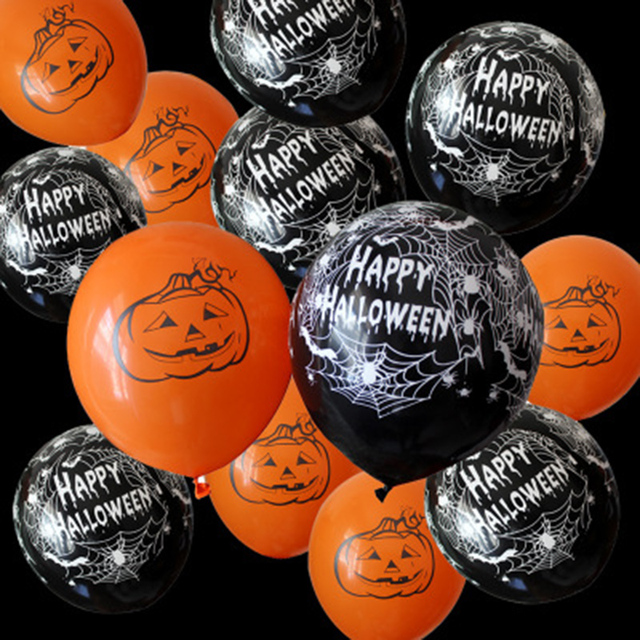 10pcs pumpkin skull Pirate ship Printed latex balloons Halloween pirates happy birthday party decoration supplies