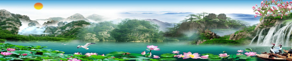 Mountain Scenery Murals Bedroom Living Room Sofa Tv Background Wall Mural Wall Paper Refreshing And Enriching The Saliva Photo Wallpaper Waterfall Painting Supplies & Wall Treatments Wallpapers