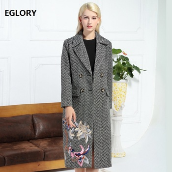 Top Quality Women Wool Jackets 2018 Autumn Winter Wool Embroidery Long Coats Ladies Double Breasted Wool Overcoats Outerwear XXL