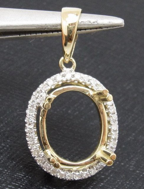 7x9mm oval solid 14kt yellow gold natural diamond semi mount pendant 7x9mm oval solid 14kt yellow gold natural diamond semi mount pendant setting solid 14k gold aloadofball Choice Image