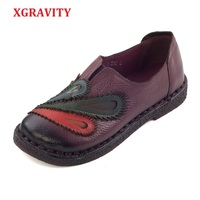 XGRAVITY Dropshipping 3 Colors Lady Genuine Leather Ethnic Hand Made Woman Shoes Elegant Soft Spring Vintage