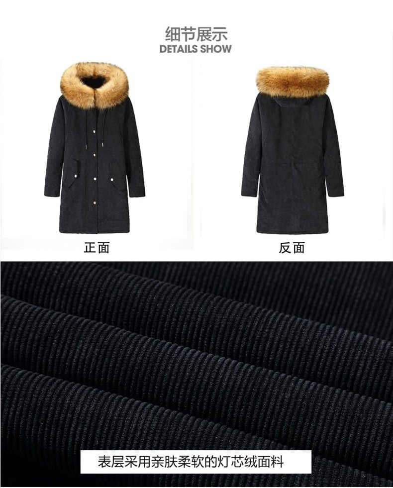 2017 New Winter Coat Women Corduroy Hooded Jacket Female Natural Color Thick Warm Fur Parkas Big Raccoon Fur Collar Coat H573