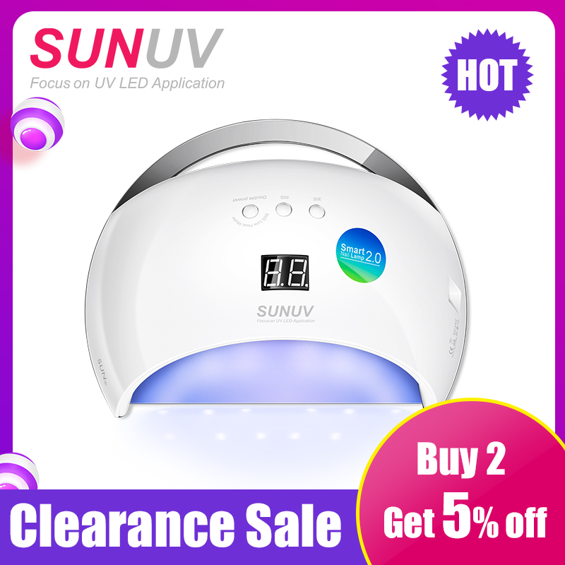 SUNUV SUN6 48W Nail Dryer New Style Portable UV Lamp For Drying Unique Low Heat Model Double Power Fast Manicure Colorful LampSUNUV SUN6 48W Nail Dryer New Style Portable UV Lamp For Drying Unique Low Heat Model Double Power Fast Manicure Colorful Lamp