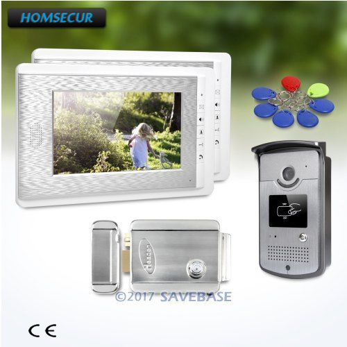HOMSECUR 1V2 Electric Lock 7inch Video Door Phone Intercom System with User friendly Design of Mute