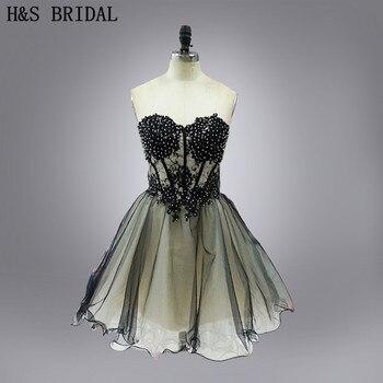 fd99b94e46 Venta caliente del amor nueva llegada vestido de fiesta corto negro sexy  LACE Appliques Homecoming vestidos