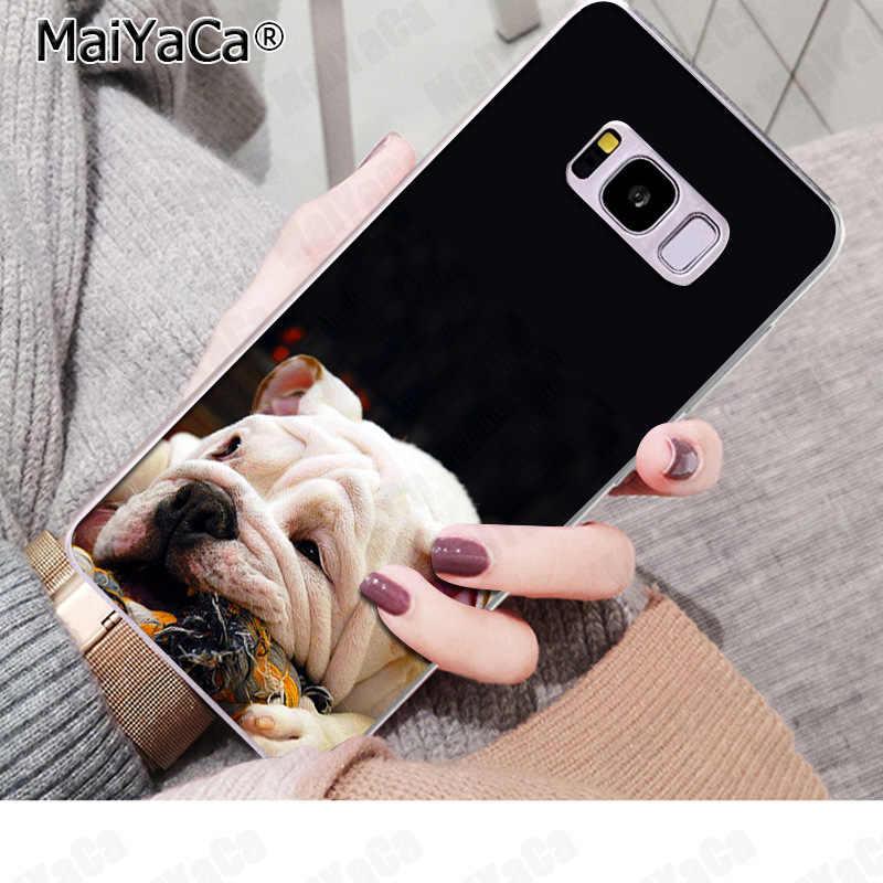 MaiYaCa かわいい犬英語ブルドッグ電話カバーおかしい手紙三星 S9 S9 プラス S5 S6 S6edge S6plus S7 s7edge S8 S8plus