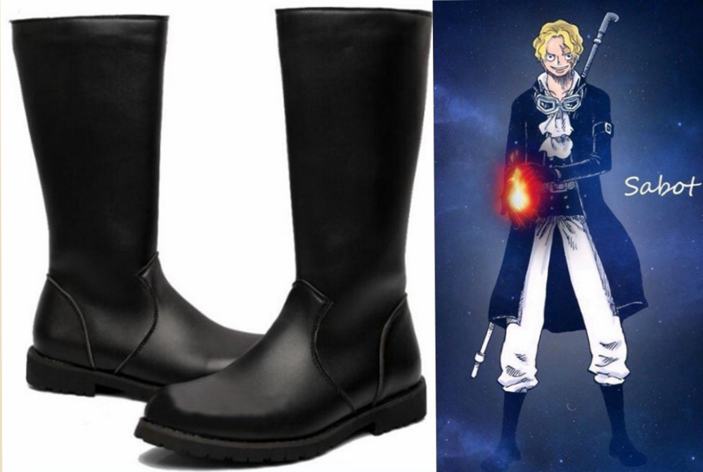 Japanese Anime ONE PIECE Sabo Cosplay Shoes Black Boots Custom made-in Shoes from Novelty & Special Use    1